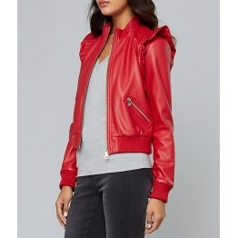 Feminine Fashion Ruffled Red Leather Bomber Jacket for Ladies