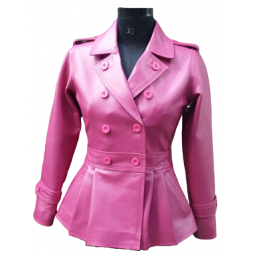 Feminine Fit Peplum Style Genuine Pink Leather Coat for Ladies