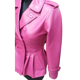 Feminine Fit Peplum Style Genuine Pink Leather Coat for Ladies