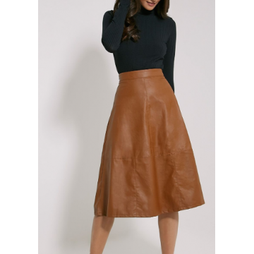 Feminine Style Tan Leather A-Line Midi Skirt for Ladies