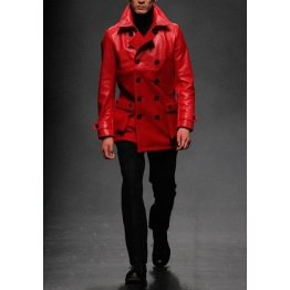 Front Button Closure Pure Red Leather Coat for Men