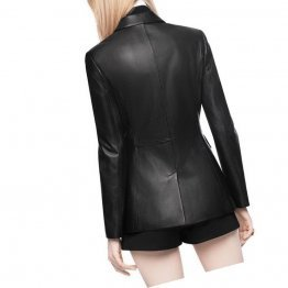 Front Buttoned Pockets Pure Black Leather Blazer Coat for Women