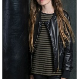 Genuine Black Leather Moto Jacket for Girl