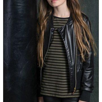 Genuine Black Leather Moto Jacket for Girl