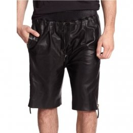 Genuine Lambskin Black Leather Shorts for Men