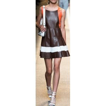 Genuine Lambskin Pleated Multicolor Leather Dress for Women