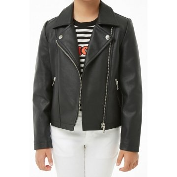 Girls Elegant Pure Black Leather Jacket