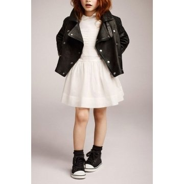 Girls Fashion Real Black Leather Moto Jacket