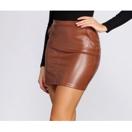 Girls High Rise Waist Hugging Fit Brown Leather Mini Skirt