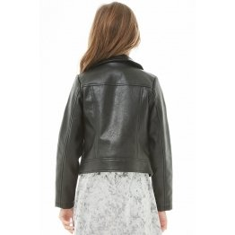 Girls Long Sleeves Black Leather Moto Kids Jacket