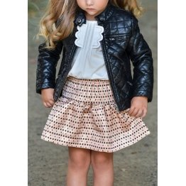 Girls Quilted Pure Black Leather Jacket