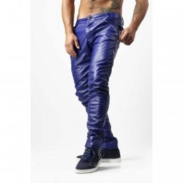 Guys Skinny Electric Blue Genuine Leather Trousers Pants
