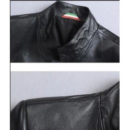 High Quality Collar Long Black Leather Coat for Men