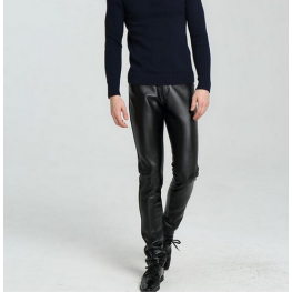 High Waist Slim Fit Black Leather Motorcycle Pants for Men