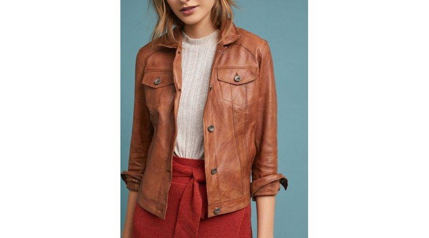 How to Wear Brown Women's Leather Biker Jacket?