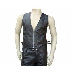 Hunter Style Mens Black Leather Vest
