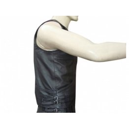 Hunter Style Mens Black Leather Vest