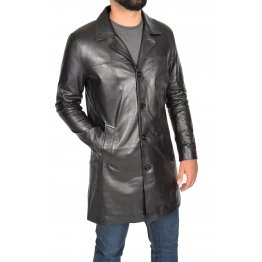 Iconic Crombie Style Long Black Leather Mens Coat