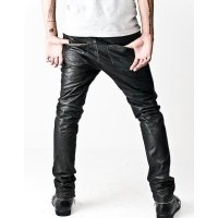 Asymmetrical Front Zip Skinny Black Leather Pants
