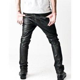 Asymmetrical Front Zip Skinny Black Leather Pants