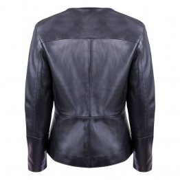 Ladies Front Button Closure Black Real Leather Jacket