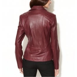 Ladies Casual Asymmetrical Quilted Burgundy Real Leather Jacket