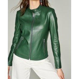 Ladies Casual Pure Dark Green Elegant Leather Jacket