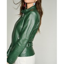 Ladies Casual Pure Dark Green Elegant Leather Jacket