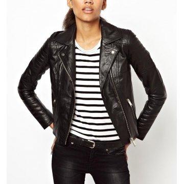 Ladies Casual Slim Fit Genuine Black Leather Jacket