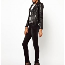 Ladies Casual Slim Fit Genuine Black Leather Jacket