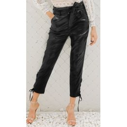 Ladies High Waisted Lambskin Black Leather Cropped Capri Pant