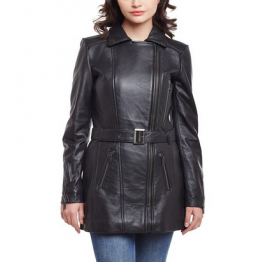 Ladies Fashion Long Pure Black Leather coat