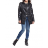 Ladies Fashion Long Pure Black Leather Jacket