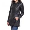 Ladies Fashion Long Pure Black Leather Jacket