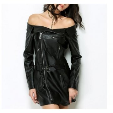 Ladies Long Sleeves Off Shoulder Black Leather Dress