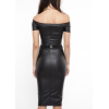 Ladies Off The Shoulder Black Leather Midi Dress for Fall