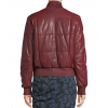 Ladies Quilted Zip Front Dark Red Leather Bomber Jacket