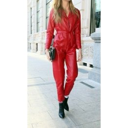 Ladies Red Hot Genuine Leather Catsuit Jumpsuit for Halloween