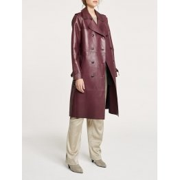 Ladies Regular Fit Burgundy Leather Light Trench Coat
