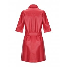 Ladies Single Breasted Belted Waistline Red Leather Coat