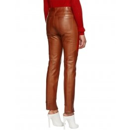Ladies Slim Fit Panelled Lambskin Orange Leather Trousers Pants