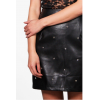 Ladies Star Stud Front Black Leather Look Mini Skirt