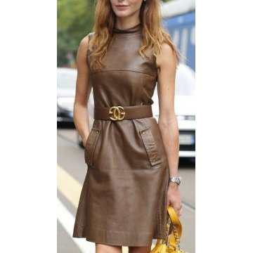 Ladies Super Elegant Knee Length Brown Leather Dress