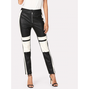 Ladies Two Tone Black and White Leather Pants for Fall