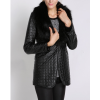 Winter Latest Black Leather Long Jacket with Fur for Ladies