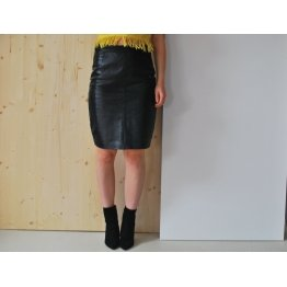 Womens Elegant Fashion Knee Length Black Leather Tube Skirt