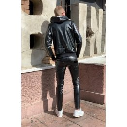 Male Classic Loose Fit Real Black Leather Pants
