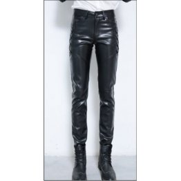 Male Hip Hop Style Genuine Black Leather Pencil Pants
