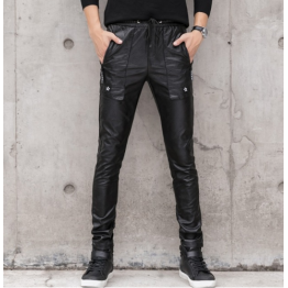 Male Casual Slim Fit Black Leather Trousers Pants