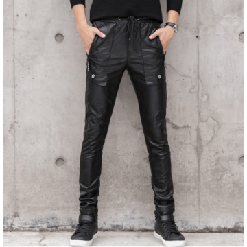Male Casual Slim Fit Black Leather Stretch Trousers Pants